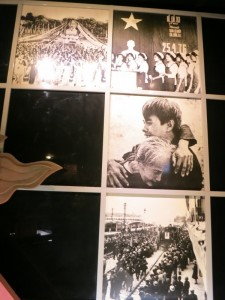 Images of victory. From Ho Chi Minh museum. The middle image is famous, a symbol of north-south unification with a mother who was in the south finally seeing her son again, who was in the north.