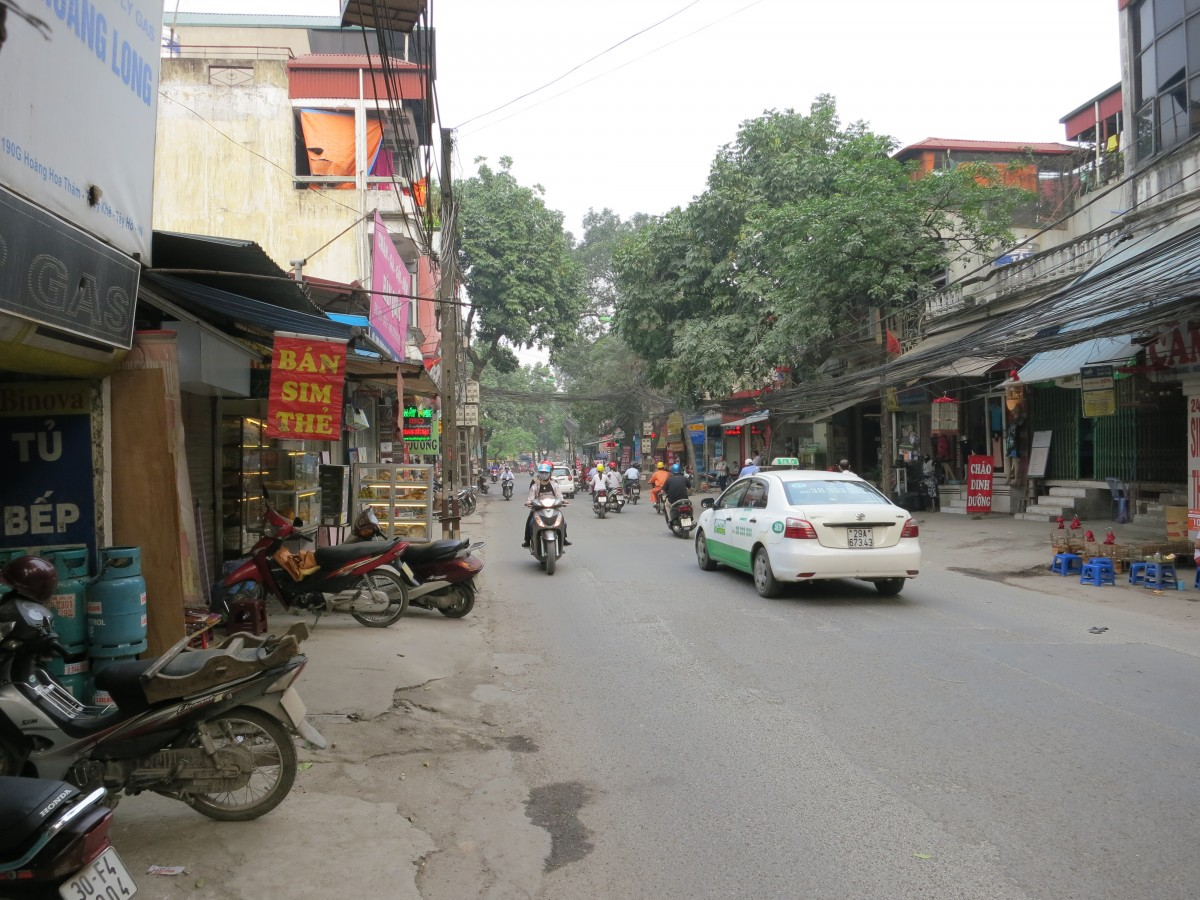 Typical street in Ha Noi. There are 90 million people in Viet Nam, and about the same amount of motorcycles! This street is not very busy at the moment.