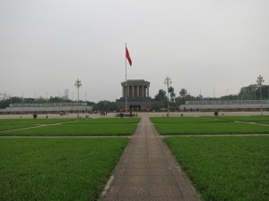 "Ho Chi Minh mausoleum from a distance. The basic translation of the writing on either side is: ""Long live the Socialist-Republic of Vietnam. The Great President Ho Chi Minh will live forever in our work."""