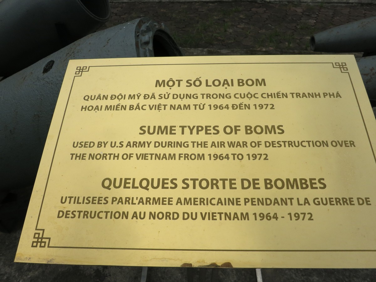 Plaque sitting in front of US bombs.