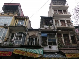 Near central Hanoi. Some housing located on top of a number of store fronts.