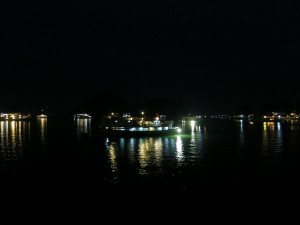 Ha Long Bay at night.
