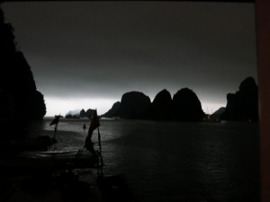 A dark storm on Ha Long Bay. Only 30 minutes of rain, thunder and lightening.