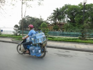 50mph hour carrying 10 five gallon bottles of water. Damn.