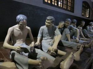 At the Hoa Lo Prison museum. Political prisoners held in shackles by the French.