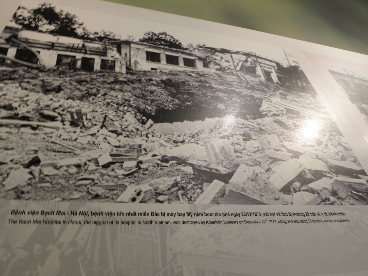 Caption reads: The Bach Mai Hospital in Hanoi, the biggest of its hospital in North Vietnam, was destroyed by the American bombers on December 22, 1972, killing and wounding 28 doctors, nurses and patients.