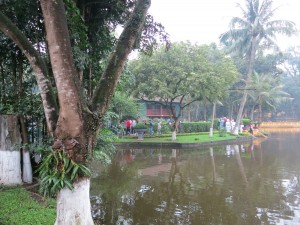 View of one of Ho Chi Minh's houses. This one was referred to as the house on stilts.