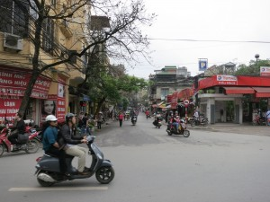 The view in front of our hotel, in Ha Noi.