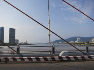 Looking north as we drive across a bridge in Da Nang.
