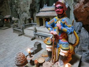 Statue as you walk into the buddhist temple, inside one of the giant caves in the Marble Mountains. Just south of Da Nang.