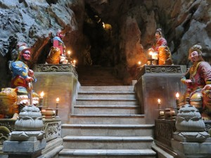Stairs leading out of the buddhist temple inside the Marble Mountains. Just south of Da Nang.