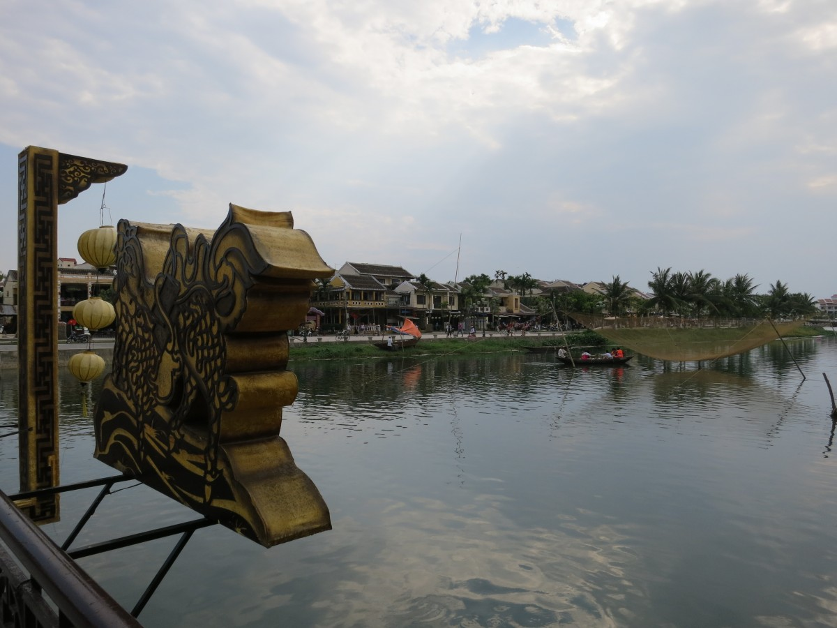 A view from a bridge in the middle of Hoi An