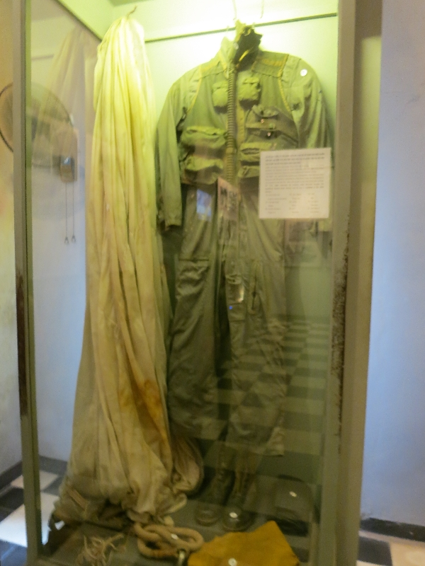 "This is allegedly John McCain's flight suit. On display in the Hoa Lo prison museum, often referred to as the ""Hanoi Hilton"""