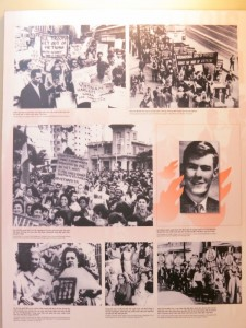 "Images of solidarity protests against the 'American war' from around the world. The caption under the photo surrounded by flames reads: ""Self-immolation by Rodgers Lapoter, a 22-year-old American, in front of the UN Headquarters as protest against the US invasion of Viet Nam. 09th November 1965."""